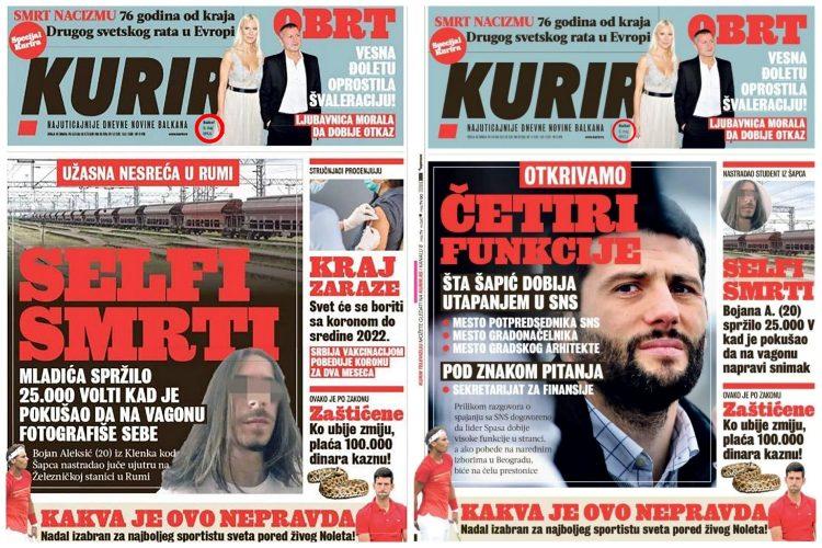 """FRKA U VRHU: """"Kurir"""" povukao naslovnu stranu sa Šapićevim funkcijama! 7"""