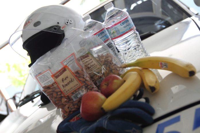 When you are at the track, eat foods high in fiber and rich in protein, along with grains and good fats, such as nuts.