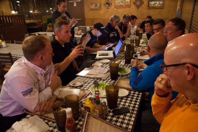 After two days of business presentations and activities at the racetrack, the Shootout committee begins the selection process at a local restaurant.
