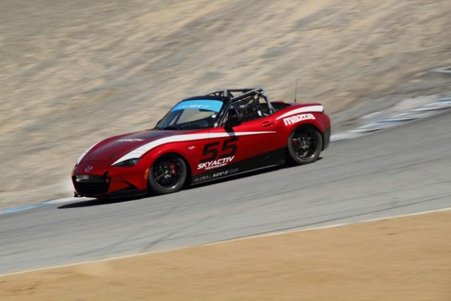 Test cars were fitted with different suspension setups for public testing at Mazda Raceway Laguna Seca.