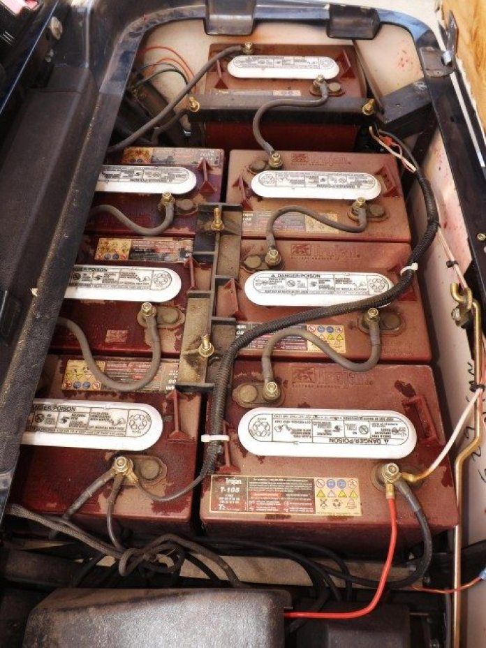 """This """"free"""" golf cart had seven deep-cycle marine batteries in it — all of them dead — which set our team back about $1,500."""