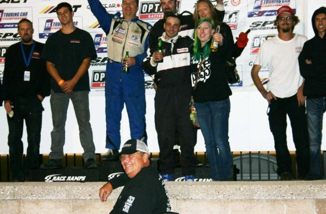 Believe it or not, this is all one team celebrating a victory on the podium after a night race at Sonoma. However, you would never know it since nobody is wearing a team uniform. A photo like this comes out so much better if you have all the players decked out in the same gear.