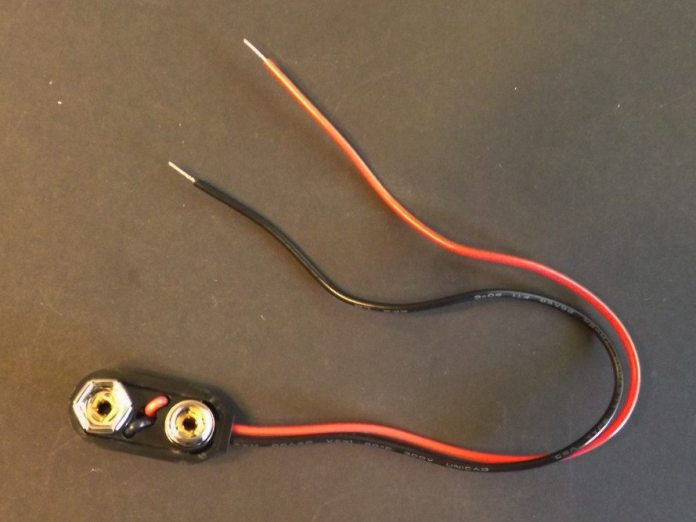 Instead of making a mess with a solder gun, press the easy button and just use a premade 9-volt battery harness to connect with the portable power source. The nice part is these wires are already correctly color coded red and black. The connector will ensure you don't accidentally switch the polarity as you plug it in to your power source.