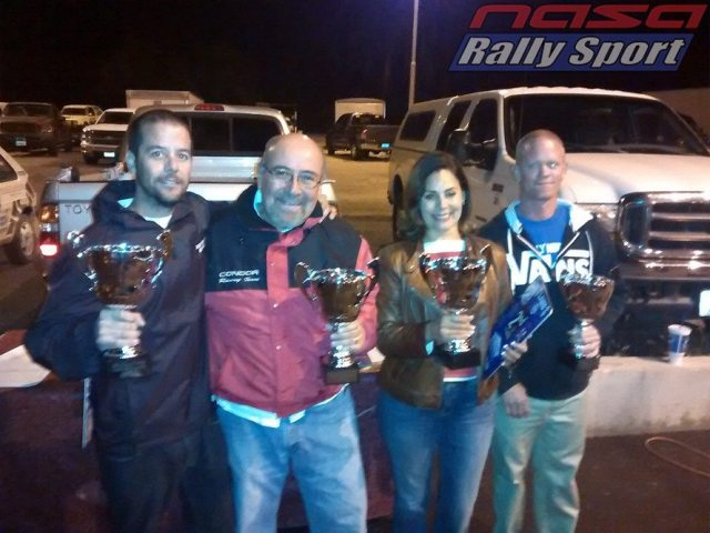 From left: 2WD Pacific Rally Cup champions John Trucks, Tony Chavez,  Raquel Salas, and Christopher Fine.