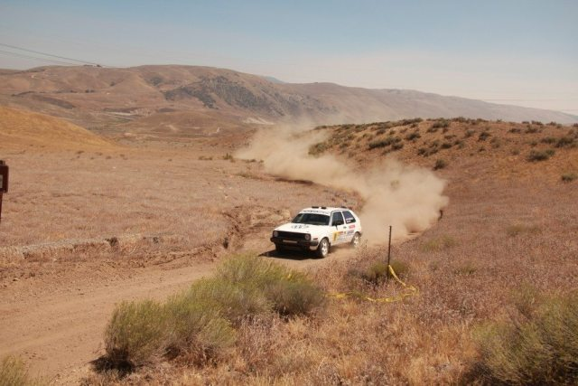 Bret Robinson and Brent Ellzey battled another VW Golf and took third in 2WD Challenge at the Gorman Rally.
