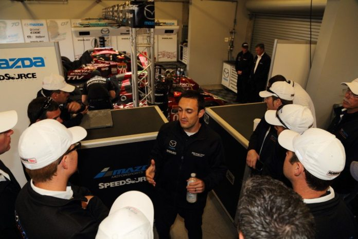Mazda team driver Tom Long takes a few questions from the NASA Champions.