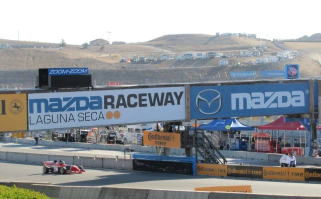 The front straight at Mazda Raceway Laguna Seca is fast and tricky, with a blind rise, then a hard-on-the-brakes downhill scamper into the Andretti Hairpin.