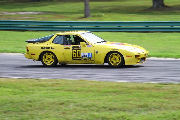 Jason Stanley diced for the lead in the 944 Spec race, and held it for a few laps, but couldn't quite close the deal. He finished second.