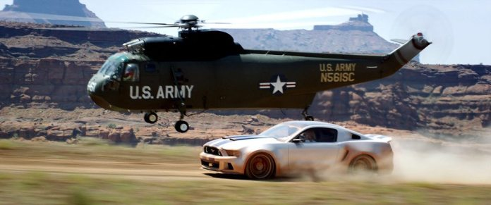 Filmed in Moab, Utah, one of the most spectacular stunts in the film was when the helicopter picked up the Mustang just as it went over the cliff. Croteau is driving in this screen grab from the movie trailer.
