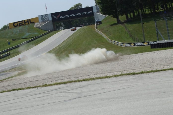 This Spec Miata driver was fortunate there's a gravel trap at the exit of Turn 5, though he'll be picking gravel out of his car for weeks.
