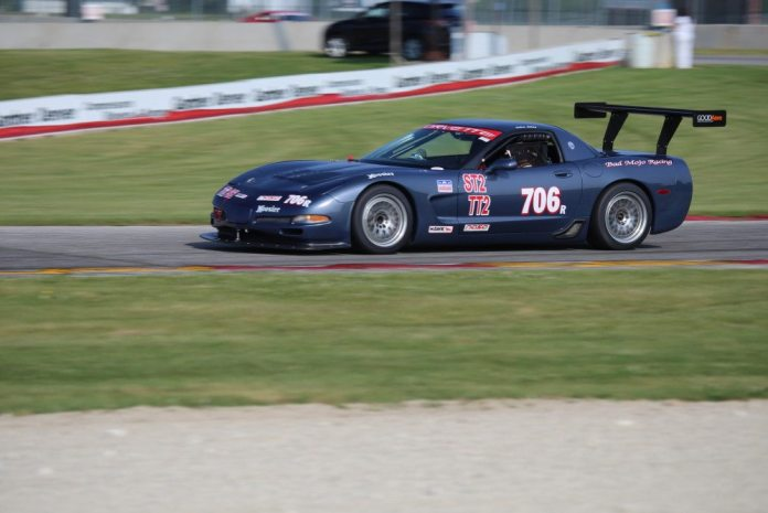 Turn 14 is a great place to shoot in the morning. Ray and Alan Sweers went round and round nose to tail in Saturday practice, along with a bevy of American Iron cars and C5 Z06 Corvettes.