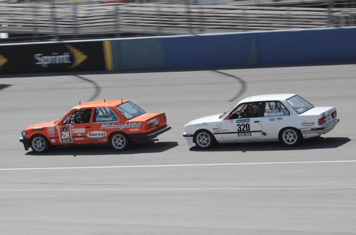 For restarts, it usually pays to stay in line (for aerodynamic benefits) until entering Turn 1, where you may be able to out-brake the car ahead.