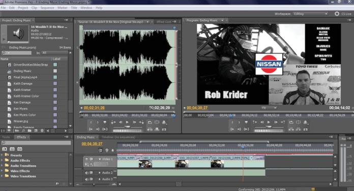 """Adobe Premiere editing software was used to create the documentary film """"Double Down."""" The program allows you to view a timeline of video or sound segments and has multiple tracks to allow you the ability to have inset screens or multiple tracks of voice and music at the same time."""