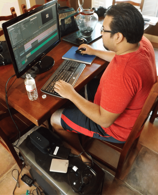To make this whole thing come together, there is no more important component than having a good editor. The editor can make or break a production. Shown here is Adam Haas, film buff and Adobe Premiere master, who spent probably about 150 hours putting together a 77 minute film.