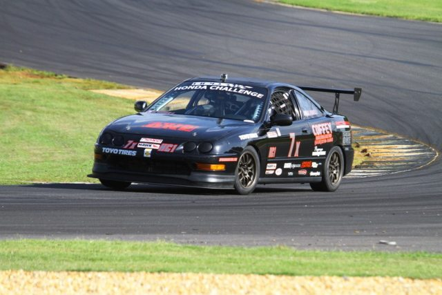 David Isbell chased Kris Popovic after a late-race restart, but went a little wide in Turn 3 and finished second in Honda Challenge 1.