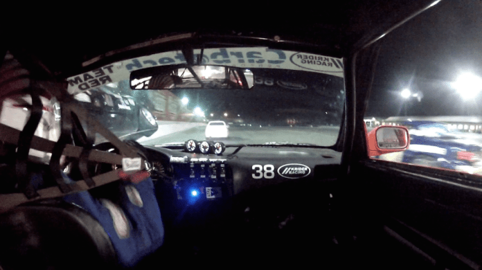 On the left is the undercarriage of Bryan MacMillan's Ford Mustang as it went airborne after trying to pass in the pit entrance lane and colliding with a car attempting to pit.