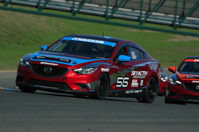 There were three of these burgundy Skyactiv Mazda 6 race cars at WERC Round 1 in Sonoma. Jeremy Barnes took the E1 class win in the No. 55 car.