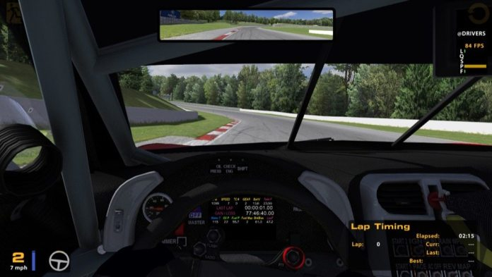 The high level of detail in iRacing software extends to the inside of the car, too.