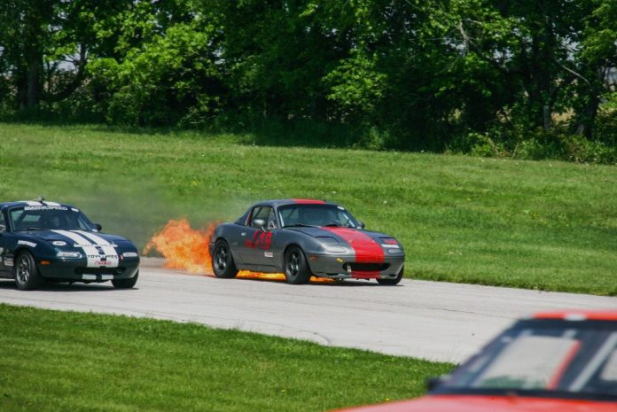 If you ever wondered what became of this Miata from a Shutter Speed image in our July 2013 issue, well, it's still out there racing. It's a little charred on its back side, but it's still whole.