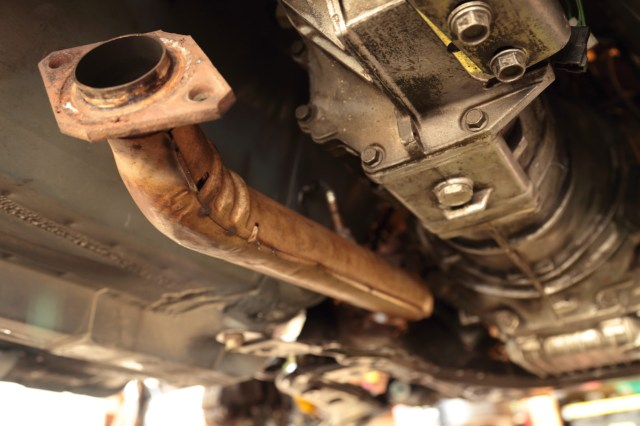 The mounting position of the AEM sensor points it up into the transmission tunnel out of harm's way.