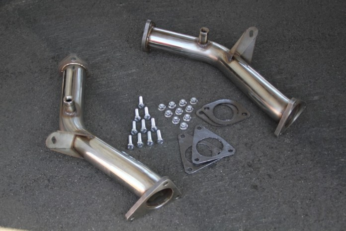 To replace the catalytic converters, Croiset installed this set of pipes from Berk Technology.
