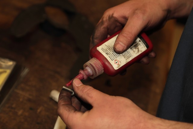 Bushman applied to each bolt a dollop of No. 516 Loctite, a thread sealant that provides excellent solvent resistance and an operating temperature range from 65 degrees to 300 degrees Fahrenheit.