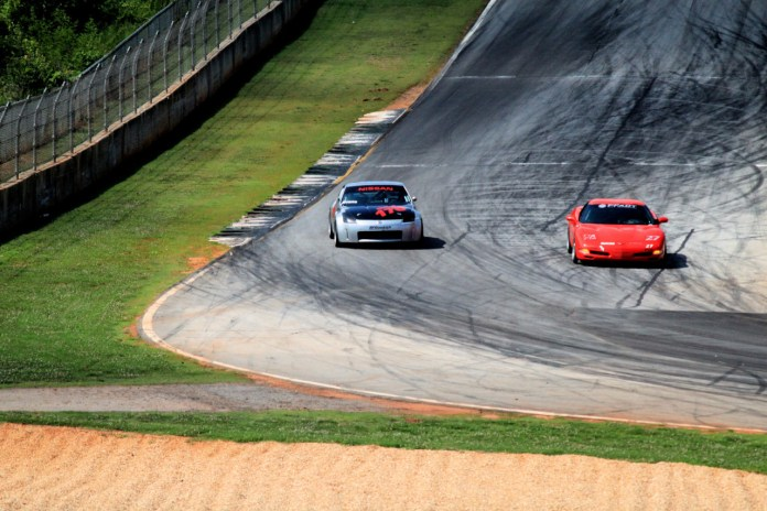 John Evans takes the outside line in his new Spec Z around Turn 10A at Road Atlanta in June.