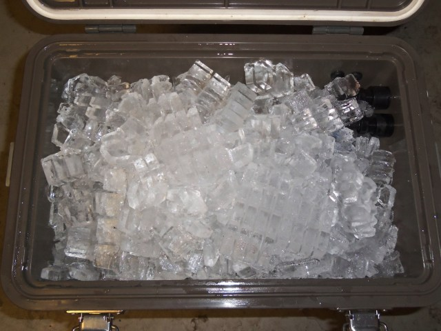 Any shape of ice will work, just fill it to the rim. We have found through testing that a large block of ice, shaped to fit exactly inside the cooler seems to last longer than the crushed ice shown in this photograph.