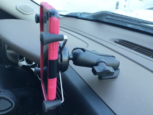 This RAM mount is great for holding your cell phone in your tow rig to help with GPS directions to a new track, but we found that the portion that holds the phone may not be industrial enough for the undulations on a racecourse. With some zip ties this could work, but you definitely want to ensure that phone doesn't come loose in the racecar.