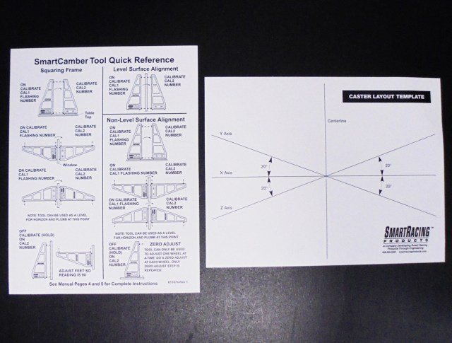 The Smart Camber gauge comes with handy guides for zeroing the gauge and doing caster setups. Keep these! You will refer to them many times. The caster layout template will help you draw lines on your shop floor to measure caster.