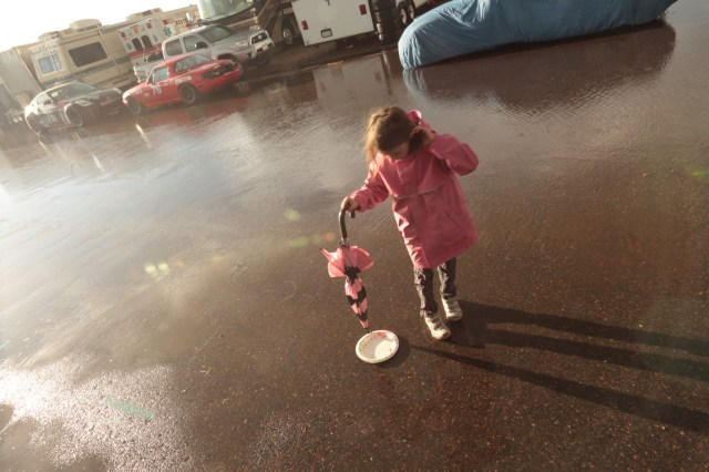 After the day's racing had concluded on Saturday, a quick and heavy rain blew in from the Rocky Mountains and forced everyone at the Saturday night barbecue under the pavilion at High Plains Raceway. After the rains had passed, the puddles proved irresistible.