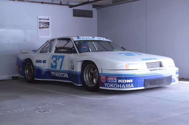 Driver Lance Stewart won five IMSA GTU races in this rotary-powered MX-6, taking his second manufacturers championship, the drivers championship and the most-improved driver award in 1990.