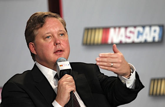 26 January 2012: Brian France of NASCAR talks to the media the NASCAR Hall of Fame on the 2012 Media Tour in Concord NC. (HHP/Harold Hinson)