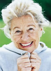 Elderly woman happy with speech pathology treatmenet
