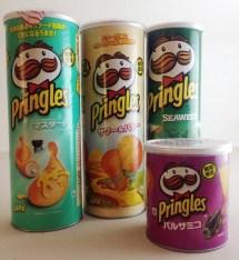 Asiatische Pringles mit Seaweed (Thailand), Senf, undefinierbar und Balsamico-Geschmack.
