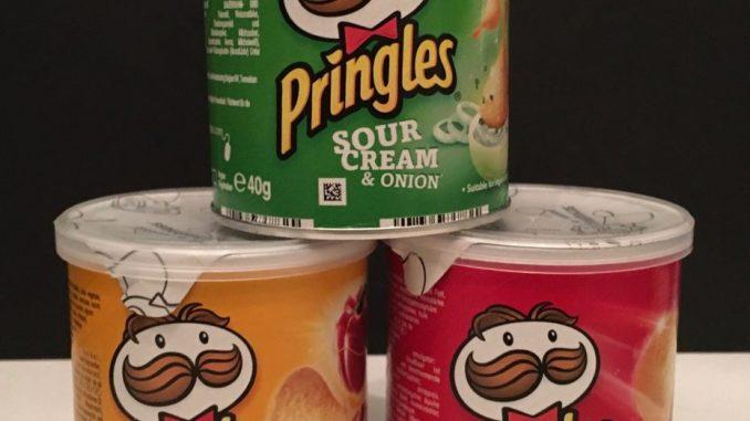 Pringles kleine Dosen in grün gelb und rot