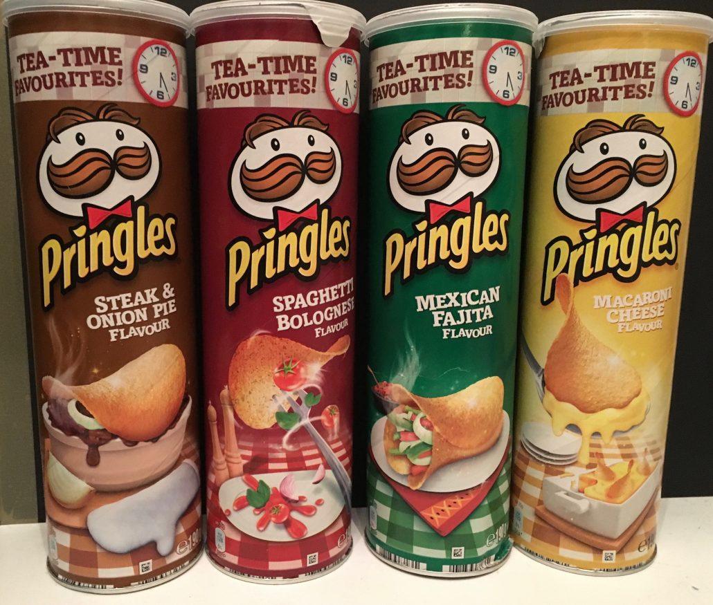 "Pringles Reihe ""Tea Times"" mit den Sorten Steak & Onion Pie, Spaghetti Bolognese, Mexican Fahita und Maccaroni Cheese."