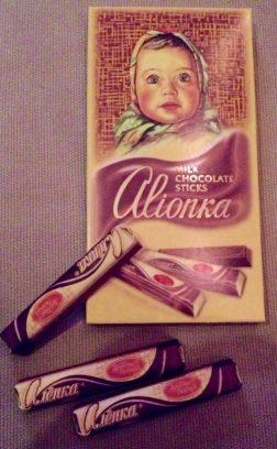 Alionka Schokoladen-Stäbchen aus Russland mit flüssigem Kern aus karamellisierter Kondensmilch.