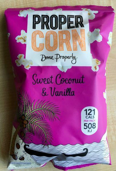 ProperCorn mit Geschmack von Sweet Coconut & Vanilla. Das war wirklich lecker!