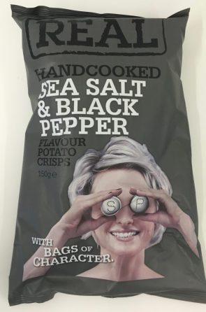 """Potato Crisps von Realcrisp der Sorte """"Sea Salt & Black Peper"""" - nicht außergewöhnlich originell, aber witziges Comicmotiv."""