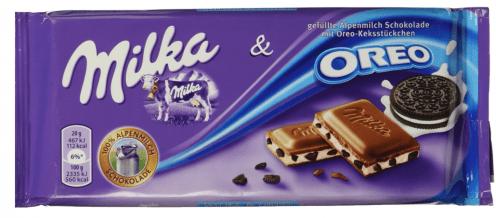 Milka Schokolade mit Oreo Geschmack - die gibt es so auch von Cadburry, der britischen Schwester von Milka innerhalb des Mondelez-Konzerns