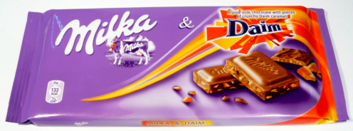 Milka mit Daim (Schokolade mit Hartkaramellsplittern)