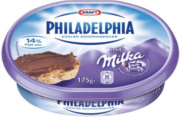 Philadelphia Frischkäse von Kraft/Mondelez mit Milka-Geschmack.