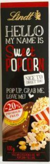 Ungewöhnliche Zutaten für Schokolade, aber gewohnt schöne Verpackung: Popcorn umhüllt von leckerer Lindt-Schokolade.
