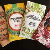 Erlesene Schokolade von Georgia Ramon mit Zedernkernen, Chili oder Brokkoli zw. aus der seltenen Kakaobohne Maranon.