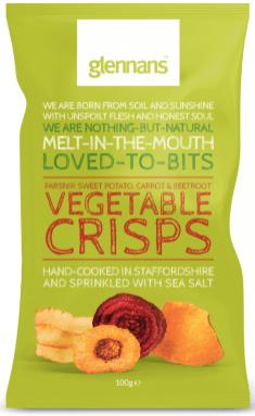 Glennans, UK; Gemüsechips Rote Beete, Süßkartoffel, Karotte