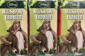 Interessant: Auch Discounter-Marken schmücken sich mit Testimonials von Disney: In diesem Fall mit Dschungelbuchfiguren auf Milchdrinks von Immergut.
