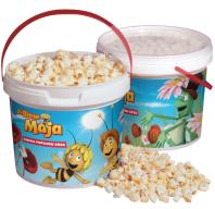 Popcorn mit Biene Maja-Lizenz im Eimer.
