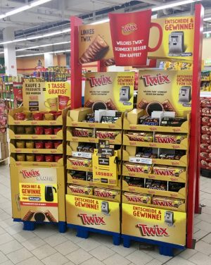 Mars Twix Display Tassen