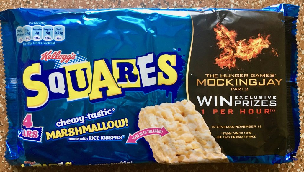 "Kellogg's Squares Marshmallow mit Kinofilmwerbung für ""The Hunger Games Mockingjay"""